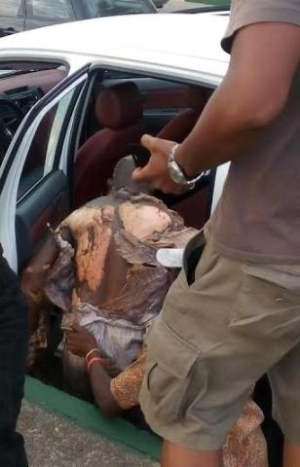 Man Nearly Burnt Alive After His Car Catches Fire On 3rd Mainland Bridge [See Photos]